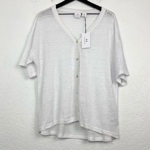 NWT H by Halston White Linen Button Front Top